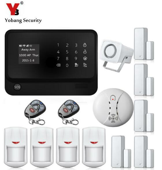 YobangSecurity WiFi GSM GPRS Home Security Alarm System Android IOS APP Control Door Window PIR Sensor Wireless Smoke Detector yobangsecurity 2016 wifi gsm gprs home security alarm system with ip camera app control wired siren pir door alarm sensor