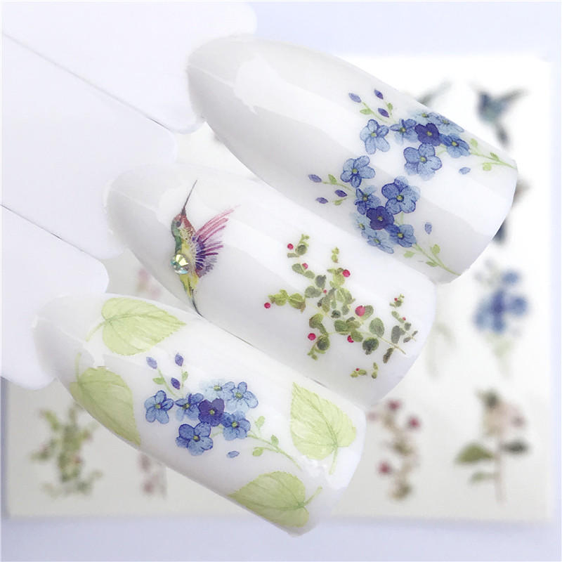 Image 3 - FWC 1 PC Summer Flower Series Nail Water Decals Cute Cat Pattern Tranfer Sticker Flamingo Fruit Nail Art Decoration-in Stickers & Decals from Beauty & Health