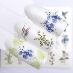 Image 3 - Fwc 1 peça de verão flor série, decalques em água para unhas, padrão gato, adesivo tranfer, flamingo, arte de unha de frutas, decoração