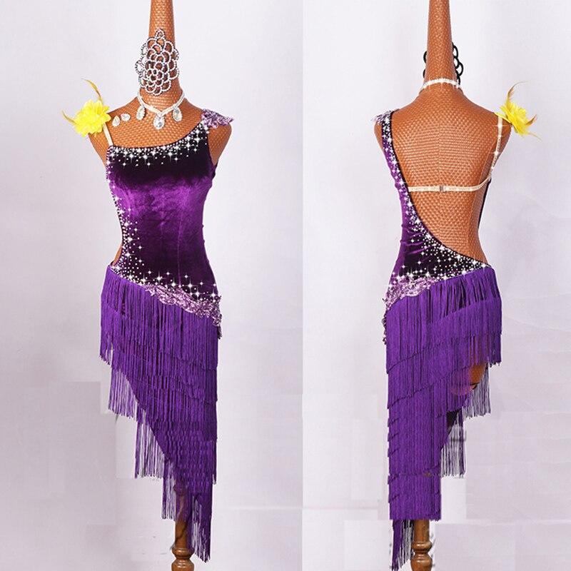 2017 Women Latin Dancing Costumes  Lycra Net Top Tassel Skirt Salsa Samba Rumba India Ladies Fringe Latin Dance Dress DW1074