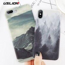 Чехол для телефона USLION для iPhone 8, 7 Plus, задняя крышка с изображением горного пика леса для iPhone X, XS, XR, XS, Max, 7, 6, 6S Plus, Жесткий Чехол из поликарбоната