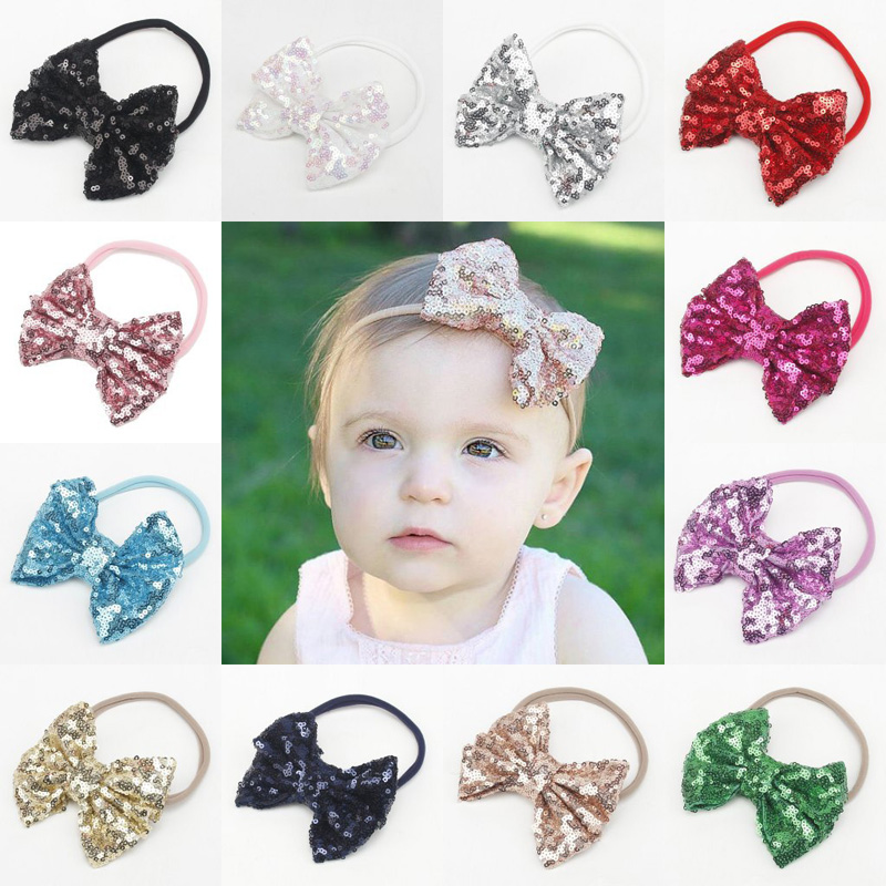 New Baby Girls Sequin Big Bow Elastic Hairband Children Nlon Headband Hair Wear Kids Head Band Headdress Babys Hair Accessories