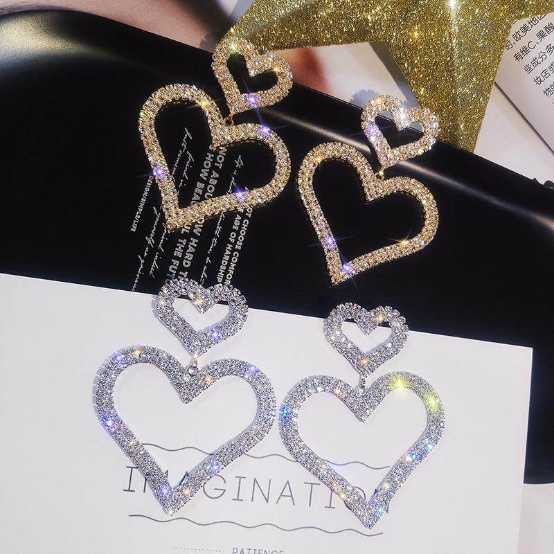 Fashion Korean heart Drop Earrings for Women Girls Crystal Luxury Wedding Dangle Big Earrings Party Girls Jewelry in Drop Earrings from Jewelry Accessories