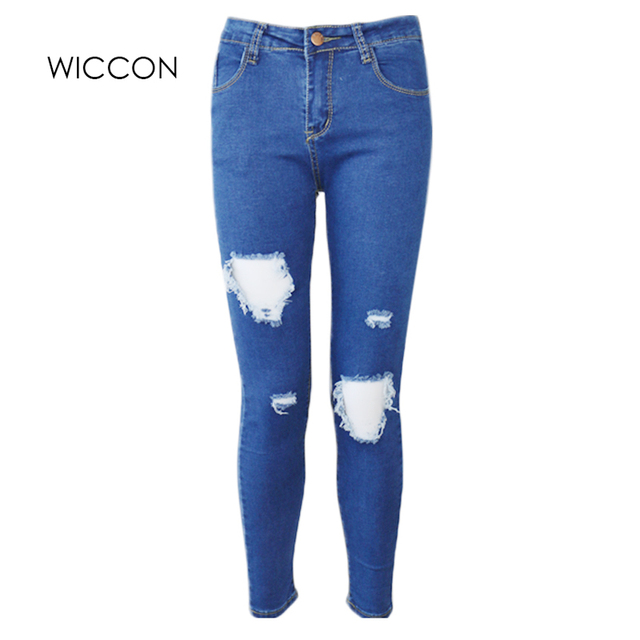 ae00307b717 Fashion Casual Women Brand Vintage High Waist Skinny Denim Jeans Slim Ripped  Pencil Jeans Hole Pants Female Sexy Girls Trousers