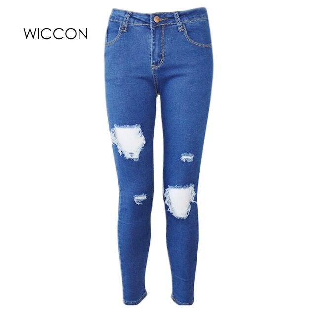 06f7b610073a Mode Casual Femmes Marque Vintage Taille Haute Skinny Jeans Slim Déchiré  Jeans Crayon Trou Pantalon Femme