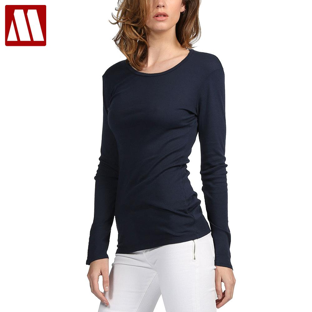 Mydbsh brand cotton women stretch t shirt long sleeve for Women s broadcloth shirts