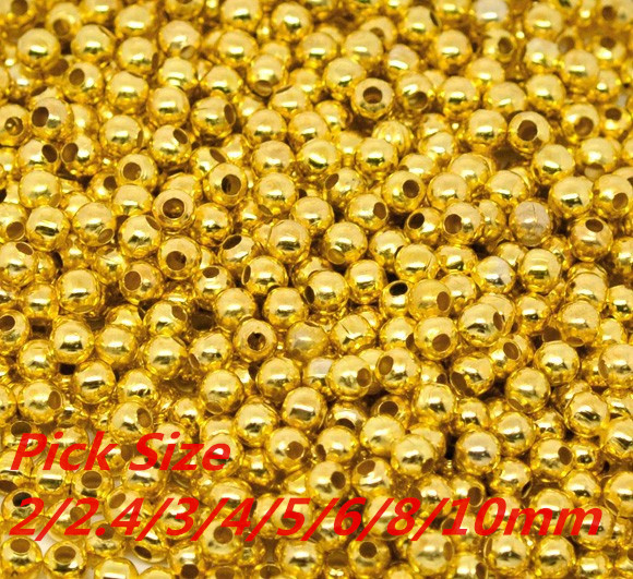Gold Smooth Ball Spacer Beads Pick Size 2/2.4/3/4/5/6/8/10mm in Dia Jewelry Making Findings Wholesale