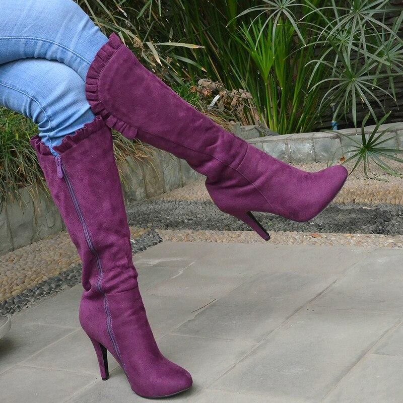 Bottes Glissière Genou Mujer Nancyjayjii Chaussures Femmes Volants Talons Zapatos Haute Purple Botas À Rond Botines Bout Femme Violet D'hiver ITIEq0