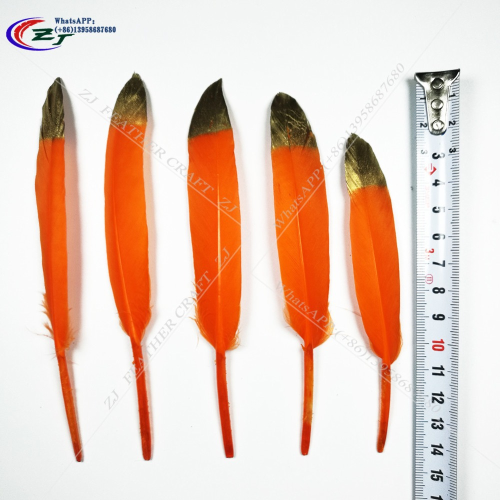 Hot Sale 100pcs Gold/Orange Color Goose/Duck Feather 10-15cm/4-6inches Wedding Bouquet Decoration Craft for Home Decor Wholesale