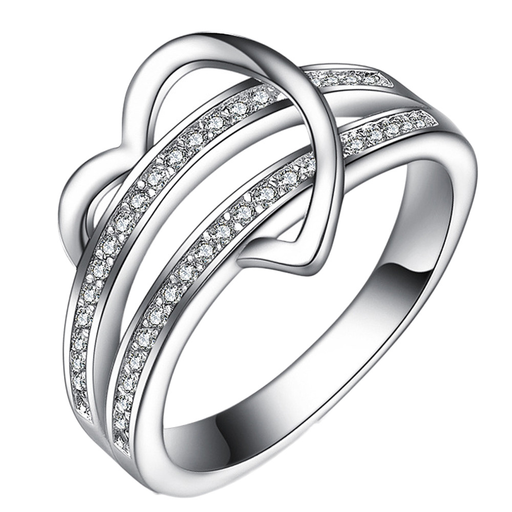 2017 Elegant Ring For Women Engagement Wedding Female Shinning Rhinestone  Love Heart Shaped Silver Plated Rings