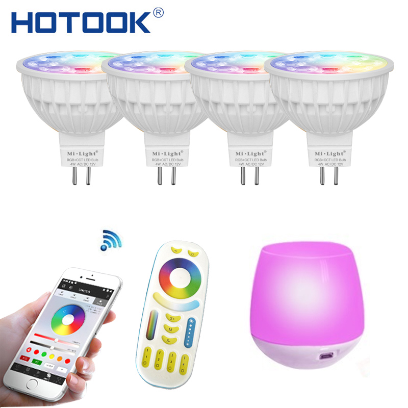 HOTOOK Mi Light WIFI LED Bulb RGB CCT(2700-6500K)LED Lamp Smart Light Dimmable MR16 GU10 4WSpotlight 2.4G Remote and APP Control mr16 3w rgb multicolored ir remote control light bulb 12v