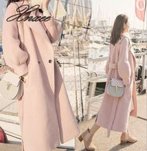 2019 new woolen coat female lantern sleeves cashmere long paragraph over the knee