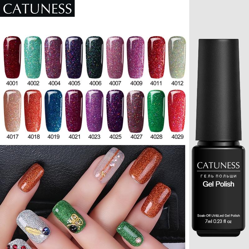 CATUNESS UV Led Gel Nail Polish Shining Enamel Glow Uv Gel Lacquer  Semi Permanent Shiny Colorful Neon Summer Gel Nail Polish