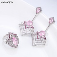 VANAXIN Charms Jewelry Sets For Women Pink CZ High Quality Jewellery Earrings Rings Daily Life Gift Brass Earrings Wholesale CC