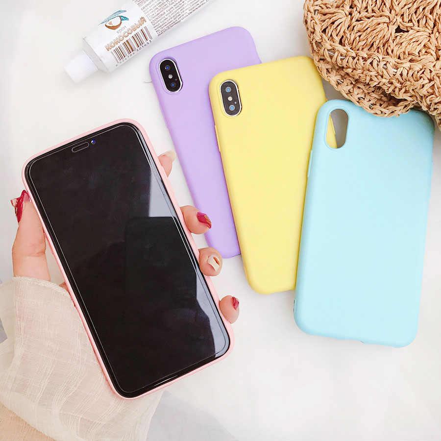 Матовый телефон случае для Apple iPhone 7 Plus 6 6s 8X5 5S SE XR XS MAX простой сплошной цвет Ультратонкий Мягкий полиуретановый чехол карамельный цвет задняя крышка