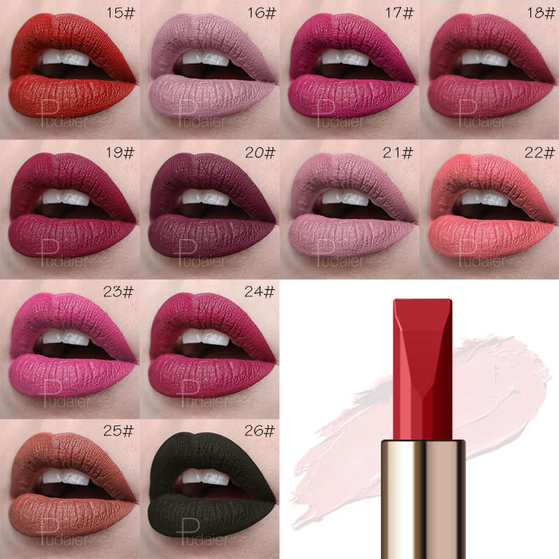 Pudaier labios maquillaje pigmentos terciopelo impermeable 26 colores pintalabios desnudo Sexy de larga duración Batom mate lápiz labial cosméticos