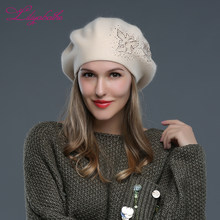 LILIYABAIHE nuovo stile Donne Berretti Cappelli Invernali di lana Lavorato  A Maglia Berretti Berretto angora fiori Decorativi Sc.. f96a37836d31