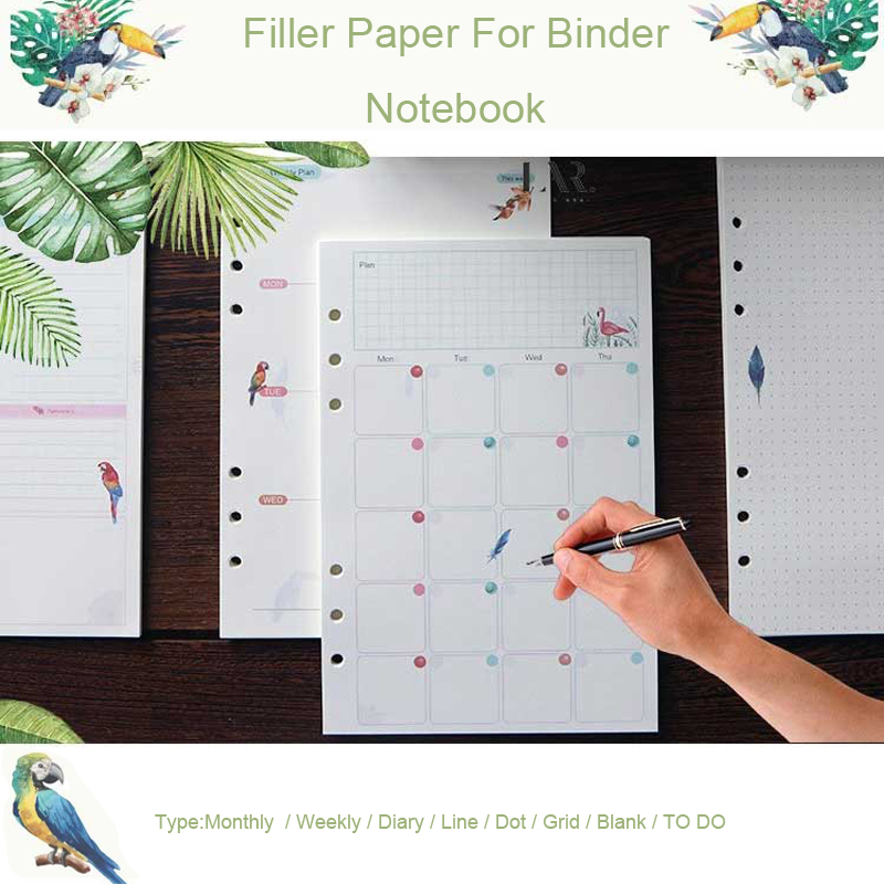 Korean A5A6 Colored Spiral Notebook Refills 6 Holes Diary Binder Planner Filler Paper For Filofax Notebooks School Stationery