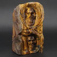 5,4 натуральный драгоценный камень желтый тигровый глаз резные Humam череп Staue материалы образец горной породы домашний декор