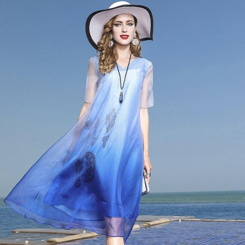 L3HT1506 Elegant Spring and Summer Women's Clothing 100% Silk Organza Dress loose Women's Dress