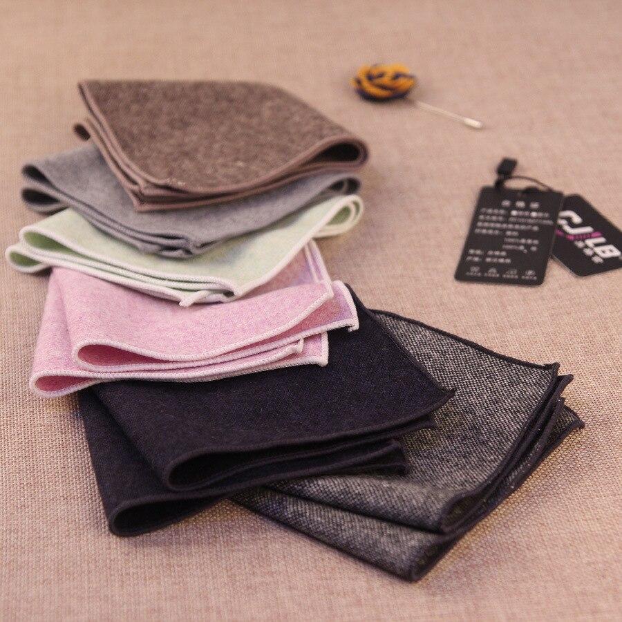 50pcs/lot 2017 New Fashion Designer Mens Ladies Solid Wool Pocket Squares Vintage Hankies Handkerchief For Suit Pocket Towel