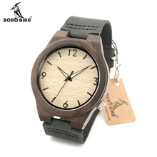 BOBO BIRD Men's Wood Bamboo Wristwatch Simple Unique Design Men Top Brand Wooden Bamboo Wrist Watches