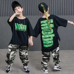 Детская одежда в стиле хип-хоп Повседневная футболка Топы камуфляжные брюки тренировочные штаны для мальчиков джаз танец бальный костюм та...