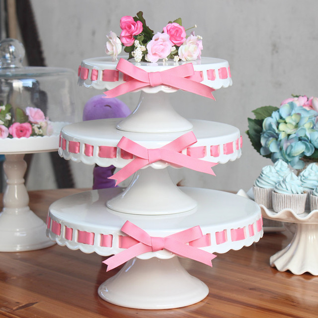 8 inch 10 inch ceramic cake stand with knife wedding candy display white cake pan wedding