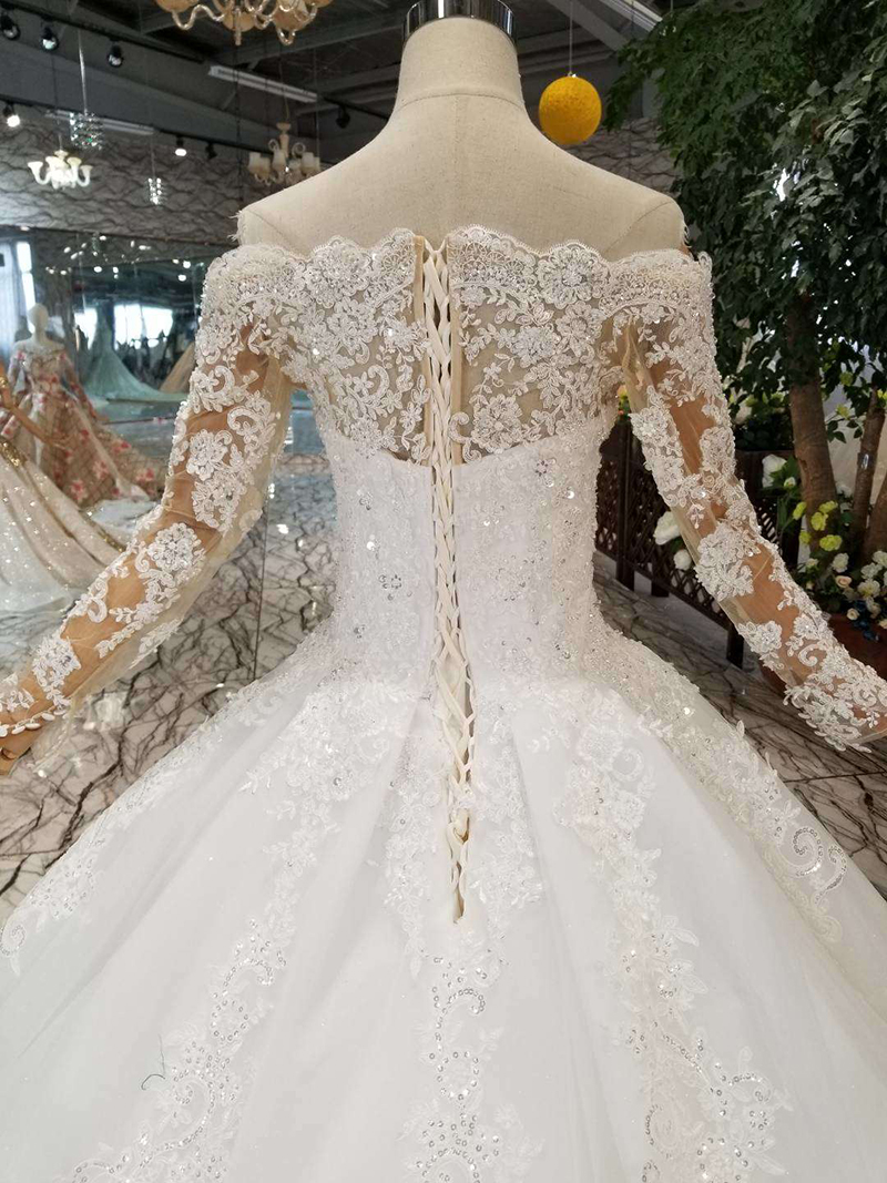Image 5 - HTL108 bohemian wedding dress like white off the shoulder boat neck long tulle appliques sleeves wedding gown simple beach styleWedding Dresses   -