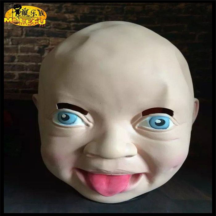2016 Hot !! Latex Disgusted Happy Cry Baby Costume Birthday Halloween Mask Full Head Party Masks Villain Joke Mask Free Shipping image