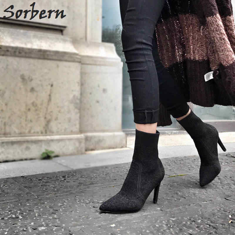 7841e9f90d ... Sorbern Stretched Fabric Ankle Boots Women 9CM/7CM High Heels Pointed  Toe Winter Shoes Ladies ...