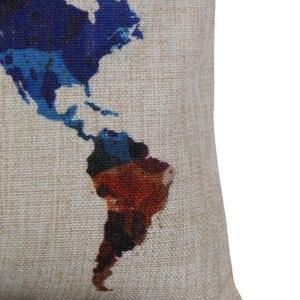 Image 2 - Разноцветный чехол для подушки с изображением карты мира, 30 см x 50 см, высококачественный льняной диван, наволочка для подушки, украшение для дома