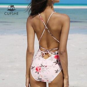 Image 2 - CUPSHE 2020 розовый цветочный принт цельный купальник женский Глубокий v образный вырез сексуальное бикини Монокини 2020 пляжный купальный костюм для девочек Купальник