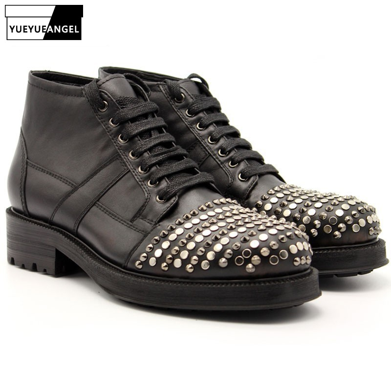 Beading Punk Mens High Top Med Heels Shoes Rivet Toes Lace Up Motorcycle Ankle Boots Man Lace Up Real Cow Leather Platform BootsBeading Punk Mens High Top Med Heels Shoes Rivet Toes Lace Up Motorcycle Ankle Boots Man Lace Up Real Cow Leather Platform Boots