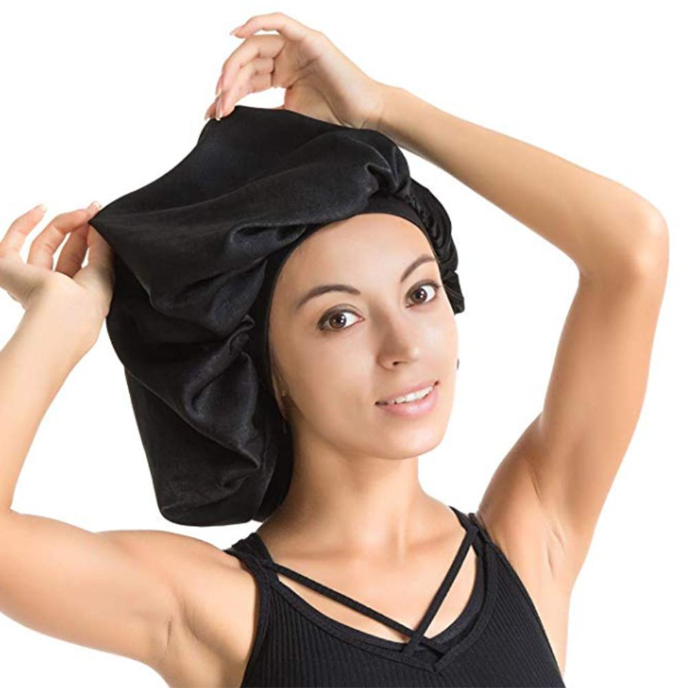 High Quality Super Giant Waterproof Shower Female Hair Care Cap Large Satin Silk Bonnet Sleep Cap Luxurious Fabric Premium Black