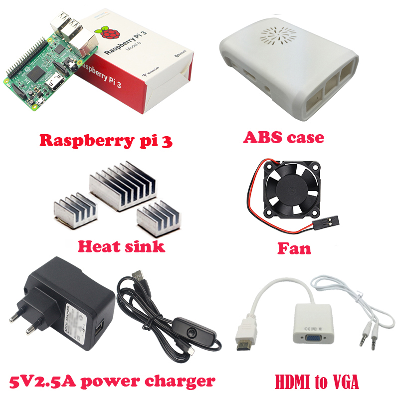 Raspberry Pi 3 Model B with WIFI and Bluetooth +ABS Case+Cooling Fan+3pcs heat sink+power supply+HDMI to VGA with audio cable