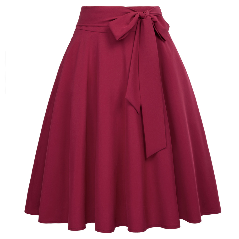 Women High Waist Skirts Summer Black Wine Robe Retro Skirt Bow-Knot A-Line Casual flared Pleated Pockets Vintage Midi Skirt