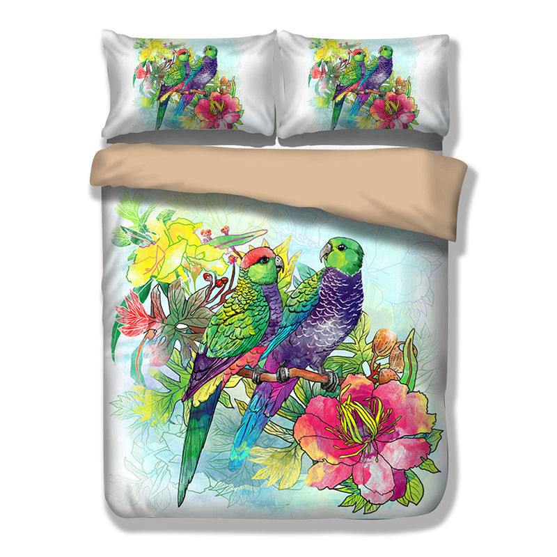 Kissing Parrot 3D Printing Duvet Quilt Doona Covers Pillow Case Bedding Sets