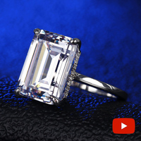 6 Carat Emerald Cut NOT FAKE S925 Sterling Silver Ring SONA Diamond Halo Fine Ring Unique Style Love Wedding Engagement