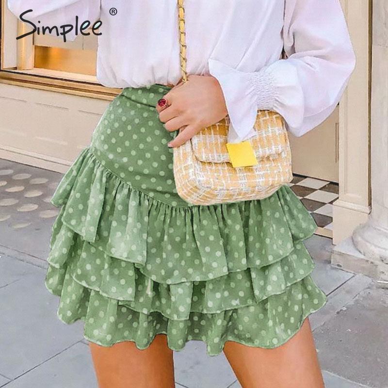 Simplee Bohemian Dot Print Ruffled Women Skirts High Waist Summer Casual Female Skirts Beach Style Soft Ladies Short Mini Skirts
