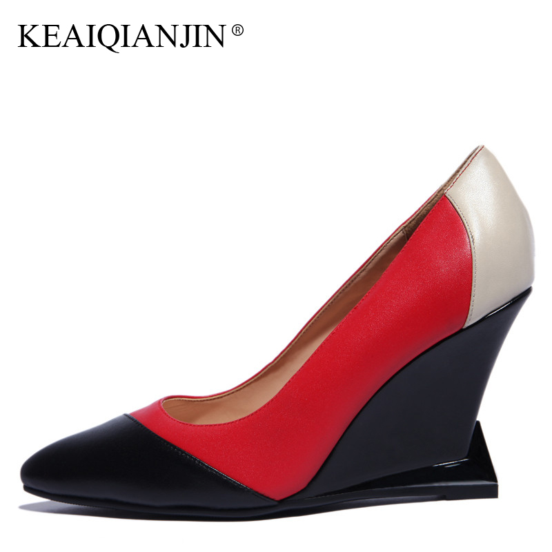 KEAIQIANJIN Woman Wedges Shoes Shallow Pointed Toe Red Wedding Pumps Spring Autumn Genuine Leather Ultra High Heels Shoes 2018 keaiqianjin woman wedges shoes shallow pointed toe red wedding pumps spring autumn genuine leather ultra high heels shoes 2018