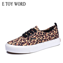 E TOY WORD Leopard Sneakers Shoes Woman 2019 Spring Autumn New Lace-Up Casual Canvas Comfortable Women Flats