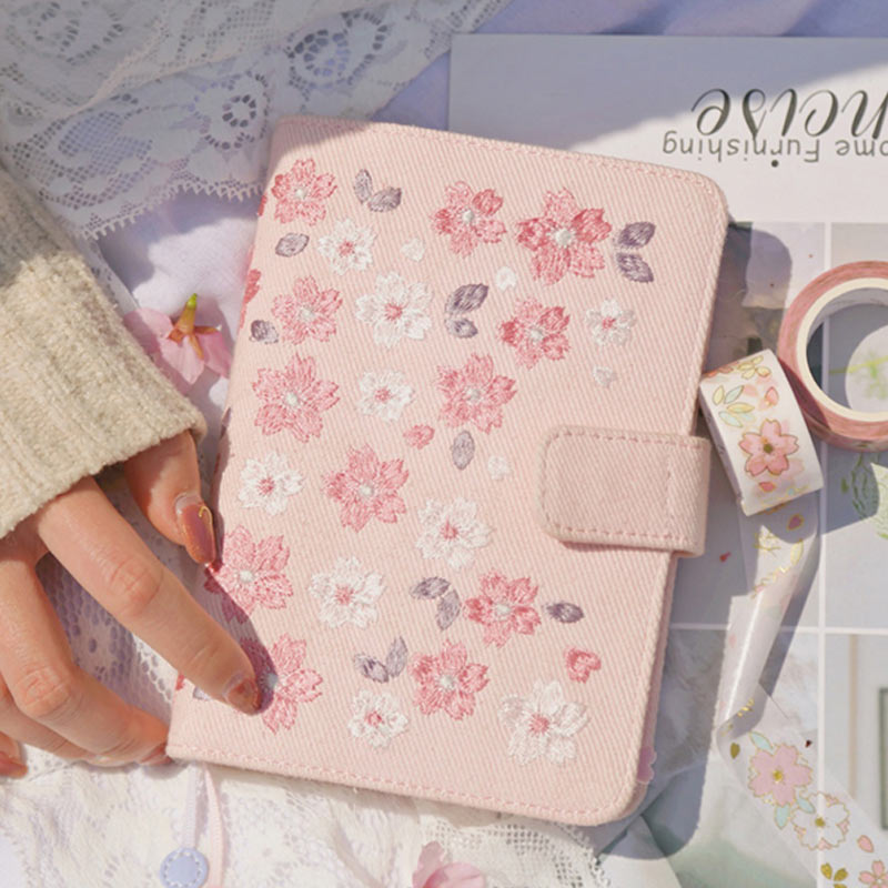 Yiwi kinbor Japanese Cherry Blossoms Embroidery Clothes A6 Hobo Style Planner With Year Monthly Filler Pages