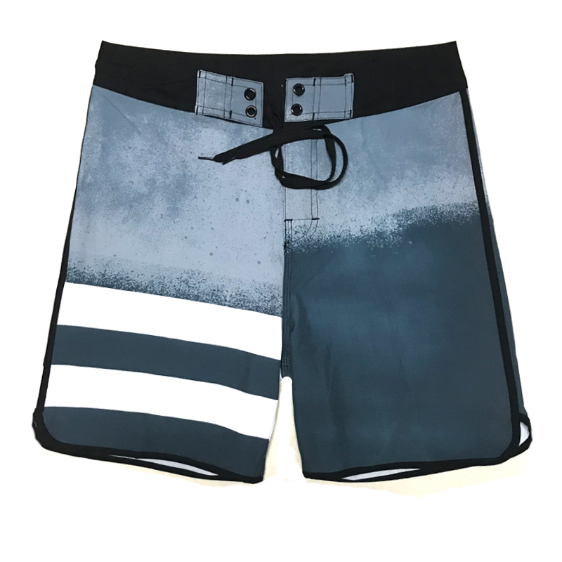 2019 New Arrivals Summer Elastic Board Shorts Striped Mens Beach Shorts Quick Dry Swim Bermuda Surfing Shorts Boys Boardshorts