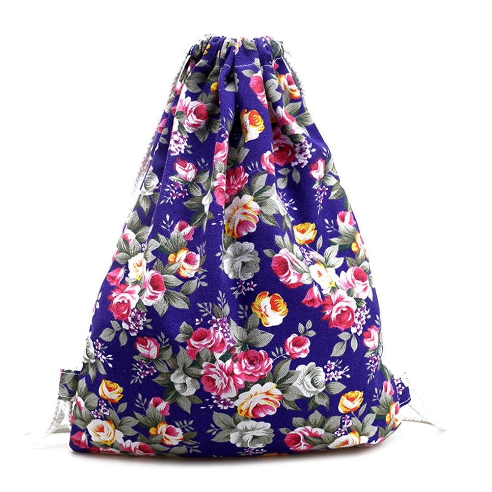 Womens Floral Canvas Drawstring Bag Travel School Student Gift Backpack Fashion Drawstring Backpacks Drop Ship Retro Bags-12 candy cane patterned drawstring gift bag storage backpack