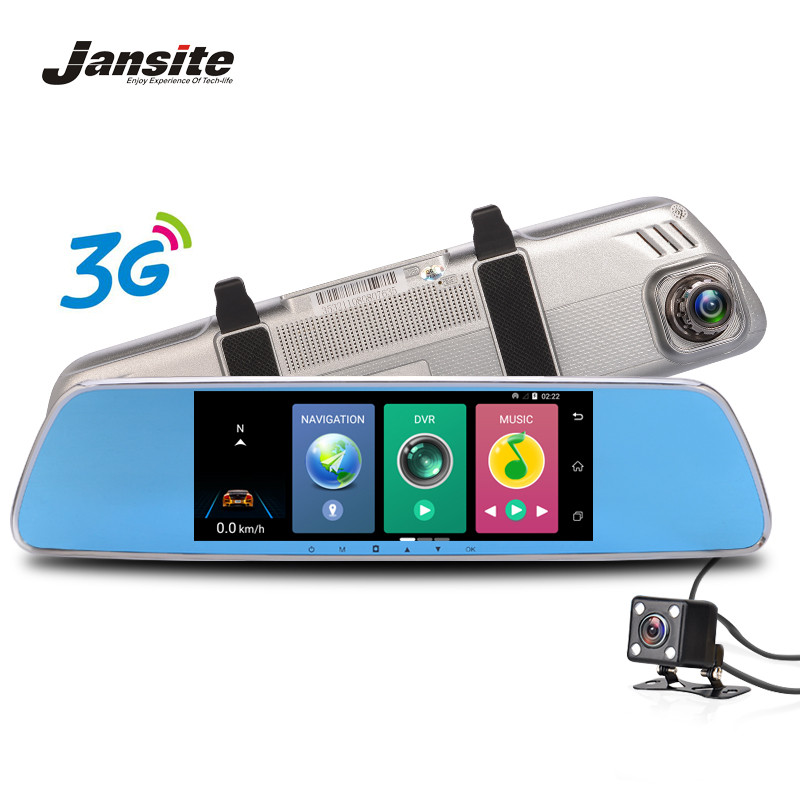 Jansite 7 3G Car font b Camera b font DVRS GPS Navigation Bluetooth Dual Lens Rearview
