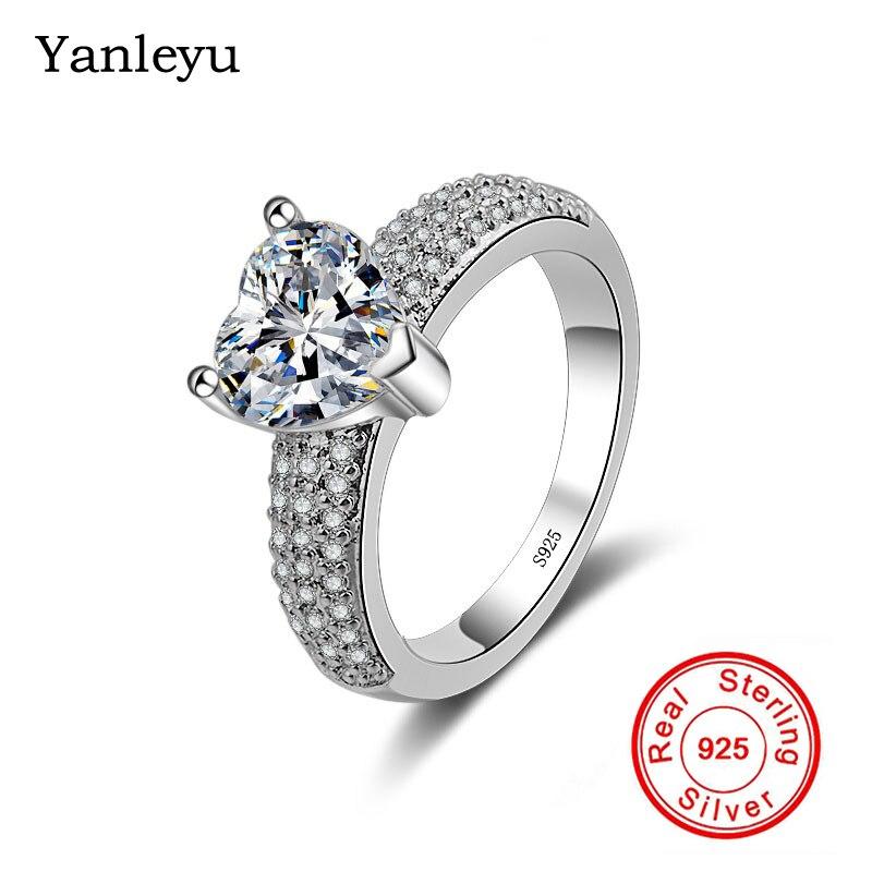 Yanleyu Original solide 925 en argent Sterling anneaux de mariage pour les femmes coeur cubique zircone Solitaire anneau bijoux cadeau PR025