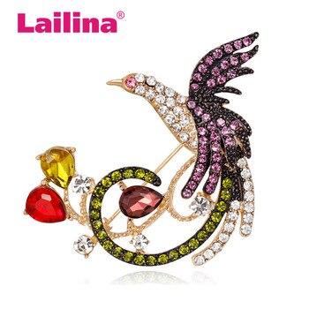 Rhinestone Phoenix Brooches for Women Bird Pins and Brooches Fashion Wedding Brooches фото