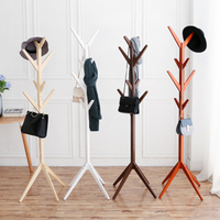 Creative 8 Hook Tree Shape Solid Wood Coat Storage Rack Display Stand Hanging Scarves Hat Bag Clothes Shelf Living room 175X45cm