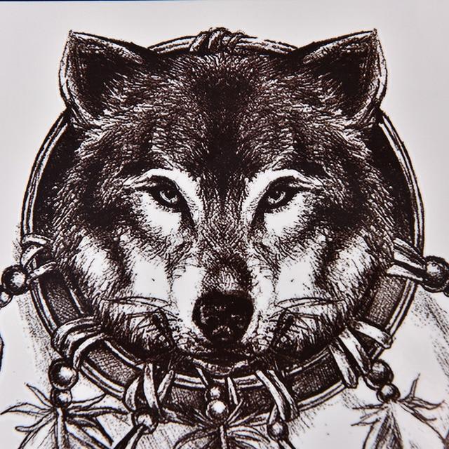 97d1b4895f876 Large Body Art Arm Sleeves Temporary Tattoo Sticker Wolf Print Tattoo Fake  Tatoo Men